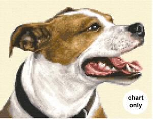 STAFFORDSHIRE BULL TERRIER dog - counted cross stitch CHART *Jann Designs