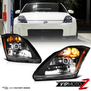 "For 2003 2004 2005 Nissan 350Z VQ35 Black ""FACTORY XENON"" Headlight Assembly Set"