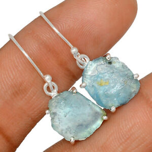 Aquamarine Rough, Stone Of Courage - Brazil 925 Silver Earring Jewelry BE44210