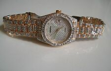 Mens Designer Style hip hop CZ Bling clubbing  Gold finish with date watch