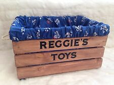 Personalised, Rustic Wooden Toy Box Storage Crate FREE P+P Pirates Theme