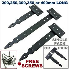 Tee Hinges Black Decorative Heavy Duty Strap T Hinge Door Gate Shed  Pair or One