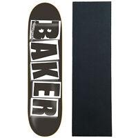 """BAKER Skateboard Deck LOGO BLACK/WHITE 8.0"""" with JESSUP Griptape"""