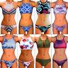 Sexy High Neck Bandage Swimwear Push Up Padded Top Bikini Set Swimsuit Bathers F