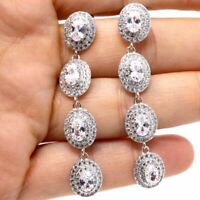 Large 1Ct Oval Moissanite Drop/Dangle Earring Women Jewelry 14K Gold Plated