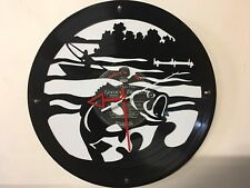 Repurposed Vinyl Record Clocks and Wall Art -  Bass Fishing