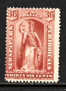 SCOTT PR65 1879 36 CENT NEWSPAPER ISSUE MH OG VG CAT $240!