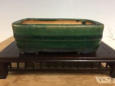Beautiful Green Glaze Rectangle Shohin Size Bonsai Tree Pot Made By Ikkou 4 1/4""