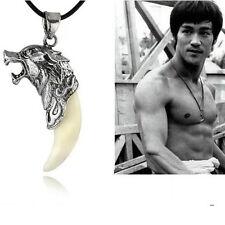 Halskette Wolfszahn Farbe Silber Edelstahl Lederkette Herren Damen schmuck Neu