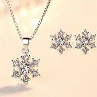 925 Sterling Silver Snowflake Stud Earrings Pendant Necklace Womens Jewellery UK