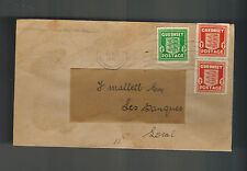 1940 Guernsey England Channel Islands Occupation Cover to Les Banques Reused Env
