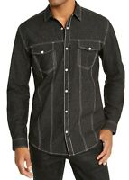 INC Mens Regular Shirt Black Size XL Contrast Stitch Lurex Button Down $65 234