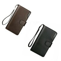 Men Casual Leather Long Billfold Mens Wallet Clutch Purse ID/Credit Card Holder