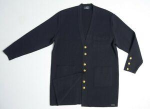 SAINT JAMES France Women Cardigan XL Wool Knit Long Jacket Coat Navy Sailor VTG