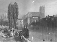 France TROYES SEINR RIVER PIERRE PAUL CATHEDRAL CHURCH, 1837 Art Print Engraving