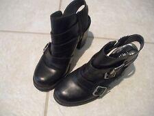 Jonak Paris Chunky Heeled Triple Strap Black Shoes Size 37/US7