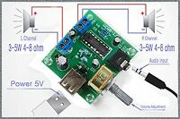 PM2038 2X5W Stereo Audio Verstärker Board 5VUSB Netzteil Einstellbare Lautstärke