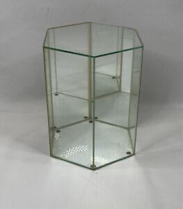 Vintage Mid Century Modern Mirrored Glass Brass Display Case Curio Cabinet XL