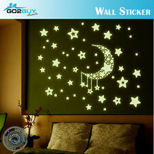 Glow In The Dark Stars Moon Removable Decal Wall Stickers Living Room Bedroom B