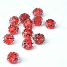 10 Perles Rouges Rondes Rondelles à facettes Fleuries Sable d'Or 10mm x 7mm