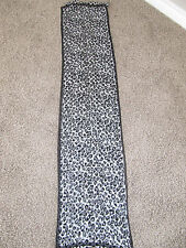COACH Light Gray / Black Head Neck Scarf Signature C & Leopard Reversible Scarf