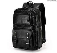 outdoor Men boy Climb real leather Backpack school travel laptop black book Bag