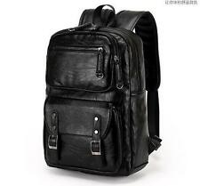 outdoor mens Climb real leather Backpack school travel laptop black sport Bag