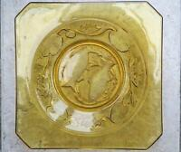 ART DECO BAGLEY GLASS FISH PLATE amber , square