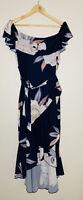 Gingham & Heels Lorraine Size XL Tie Wrap Maxi Dress Blue Floral Ruffle Hem