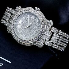 Iced Watch Bling Rapper Simulate Diamond Stone Band Silver Hip Luxury Quartz Hot