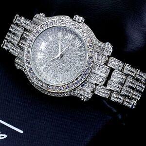 Iced Watch Bling Rapper Simulate Diamond Stone Band Silver Hip Luxury Quartz Hot