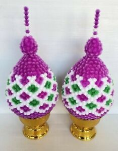 Globe Amaranth Flowers Fake Plastic Tray Ornament Artificial Thai Rice Offering