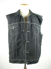 "Chest 54"" POLO Ralph Lauren Black Denim Jean Cut Off Trucker Motorcycle Vest XL"