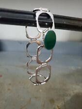 Ring Converts To Bracelet 925 SS Green Stone
