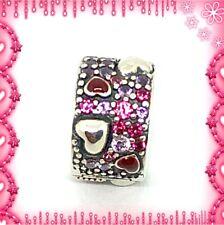 Pandora Silver Asymmetric Hearts Of Love Clip S925 ALE