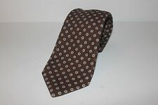 NWT $225 ISAIA Recent Hand Made Seven Fold Cotton Tie, Brown & Blue/Tan Accents