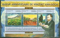 GUINEA 2013 VINCENT VAN GOGH 160TH BIRTH ANNIVERSARY SHEET OF THREE STAMPS