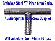 Brand New Stainless Steel T Piece 6mm Barbs for Home Brew Beer Gas Line Splitter