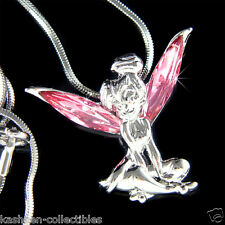 Pink Fairy w Swarovski Crystal Tinkerbell Tinker Bell ANGEL Pendant Necklace New