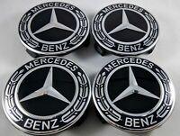 2018 4x Mercedes Benz Alloy Wheel Centre Caps 75mm Badges ALL BLACK Hub Emblem b