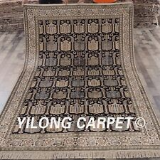 YILONG 6'x9' Hand Made Persian Silk Carpets Exclusive Pattern Indoor Rug 449B