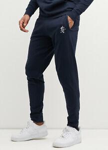 Gym King Mens Jersey Loungewear Jogger Slim Designer Jogging Bottoms Navy Blue