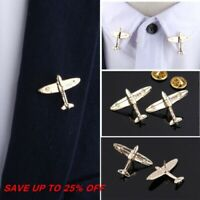 Men Women Clothes Suit Hat Jewelry Gold Plane Brooch Lapel Pin Airplane Pin New