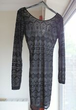 MISS SELFRIDGE BLACK LACE BODYCON DRESS       Size 10          RRP £35