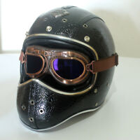 Vintage Full Face Motorcycle Helmet w/Goggles Handmade Leather Cruiser Scooter