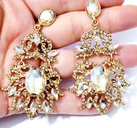 Rhinestone Chandelier Earrings Bridal Wedding Jewelry Pageant Prom Topaz 3 in