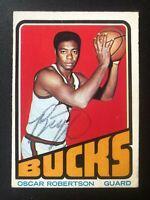 1972-73 Topps #25 Oscar Robertson Autograph Auto On Card NBA Bucks