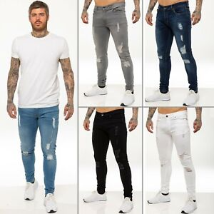 Enzo Mens Skinny Ripped Jeans Super Stretch Denim Distressed Blue Black Slim Fit