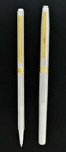 Christian Dior Sterling Silver Gold Tone Rollerball Pen Mechanical Pencil Set