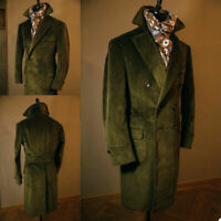 Green Corduroy Long Overcoats Double-Breasted Business Jackets Slim Fit Tailored